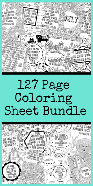 What's better than 127 awesome scripture filled coloring pages? 127 awesome scripture filled coloring pages for only $5! Get this deal before it's gone! #coloringpages #scripturecoloring #coloringbundle #instantdownload
