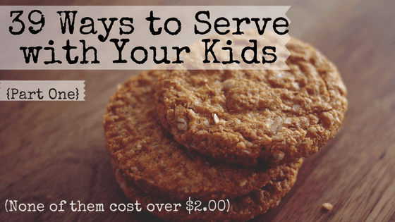 Do you want to raise kids that know how to serve others, but you aren't sure what sort of service projects you can actually do with your kids? Here's a list of 39 service projects that are perfectly suited for families, no matter how young your kids are. Plus, none of them cost over $2.00! {39 Ways to Serve with Your Kids}