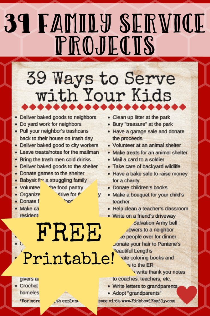 If you've got kids, then you know how real the struggle can be to get them to simply clean up after themselves. But what if we raised the bar even higher and taught them to serve others selflessly? What if we committed to raise a generation of kids who gave freely of themselves for the sake of others? Here are 39 easy service projects for kids. #serviceprojects