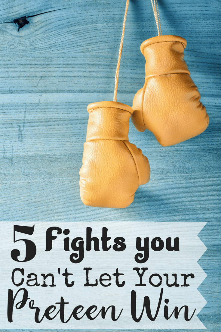 Do you feel exhausted from arguing with your preteen?  Are you unsure if all these fights are even worth it? We understand how difficult parenting a preteen is.  Here are five things you've got to take a stand on.  These fights are worth it. #parentingapreteen #preteens #tweens
