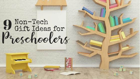 Giving a child an iPad to play on is easy. Teaching them to entertain themselves is hard. These nine tech-free gifts can make that job a little bit easier. Because whoever said parenting was easy? #nontechgifts #giftsfortoddlers #giftideas #preschoolgifts #letthemplay