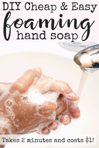 Do you feel like your kids waste more soap than they use? With this cheap DIY foaming hand soap, you won't be worried about the kids washing money down the drain. Not only is it cheap to make, it's also easy AND good for you! It contains only organic, ethically made ingredients so you can feel great about saving money. #handsoap #diysoap #cheapsoap