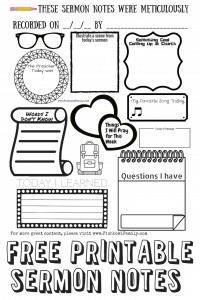 free sermon notes for kids