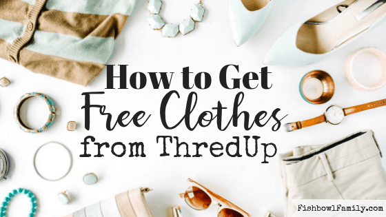 Do you love clothes?  Do you love FREE clothes even more?  In this post, we'll teach you how to get free clothes from ThredUp with just a little bit of work.    #freeclothes #momlife #thredup #consignmentshop #thriftstore